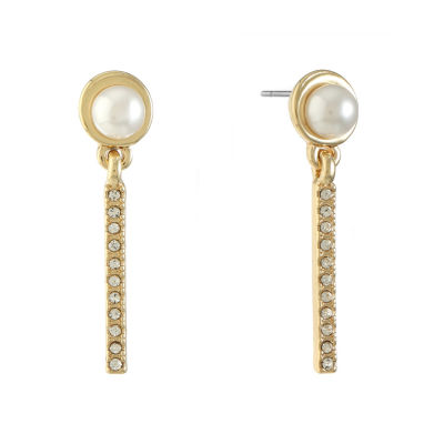 Monet Jewelry White Simulated Pearl Drop Earrings