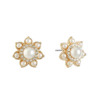 Monet Jewelry White 13mm Stud Earrings
