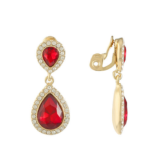 Monet Jewelry 1 Pair Red Clip On Earrings