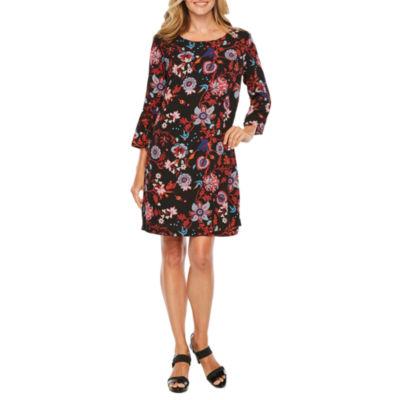 Melrose 3/4 Sleeve Floral Shift Dress