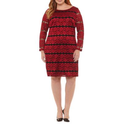 Jessica Howard Long Sleeve Shirt Dress - Plus