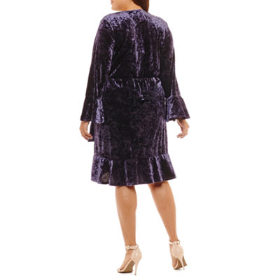 Spense Long Sleeve Wrap Dress - Plus