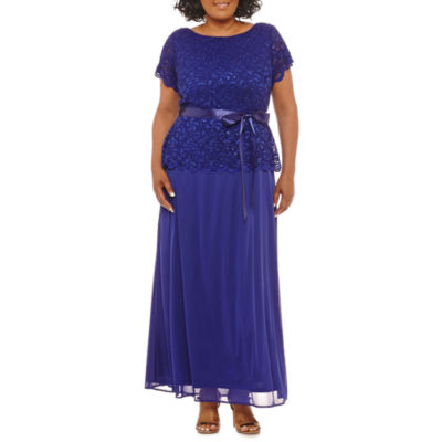 Blu Sage Short Sleeve Lace Evening Gown - Plus