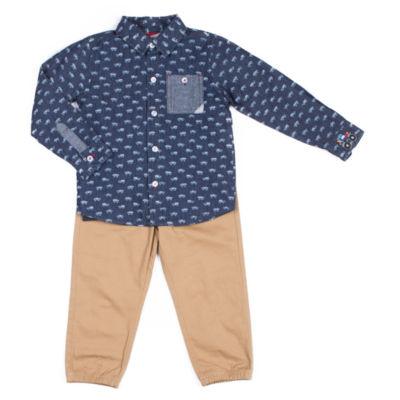 Little Lass 2-pc. Button Down Truck Shirt Pant Set Baby Boys