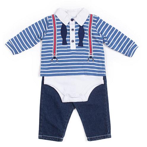 Little Lass 2-pc. Overall Set-Baby Boys