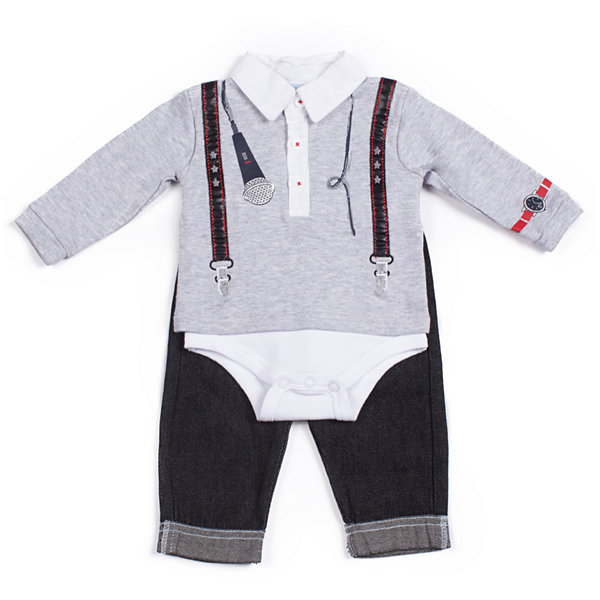 Little Lass 2-pc. Long Sleeve Rock Bodysuit Pant Set-Baby Boys