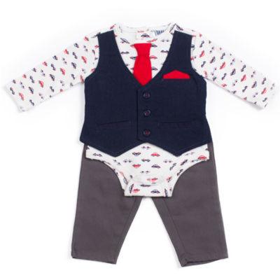 Little Lass 2-pc. Long Sleeve Car Print Faux Vest Pant Set-Baby Boys