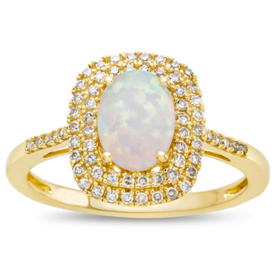 Womens 10K Gold Lab-Created Opal & 1/3 CT. T.W. Diamond Cocktail Ring