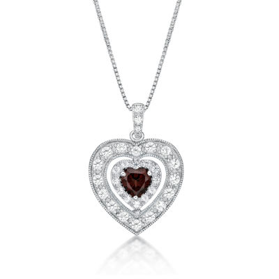 Womens Genuine Red Garnet Sterling Silver Heart Pendant Necklace