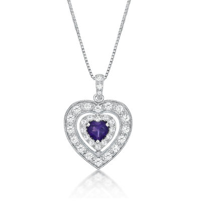 Womens Genuine Purple Amethyst Sterling Silver Heart Pendant Necklace