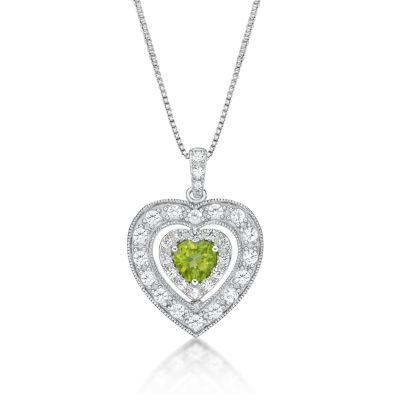 Womens Genuine Green Peridot Sterling Silver Heart Pendant Necklace