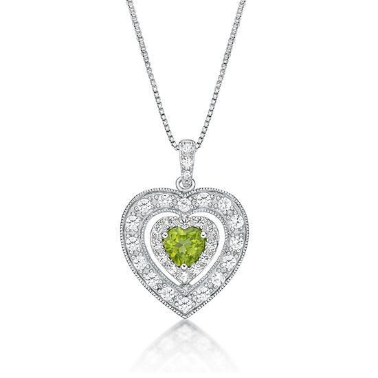 Womens Genuine Green Peridot Sterling Silver Heart Pendant Necklace