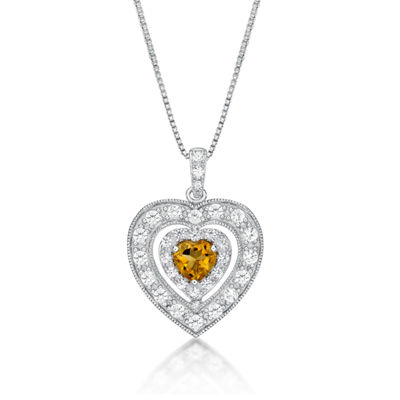 Womens Genuine Yellow Citrine Sterling Silver Heart Pendant Necklace