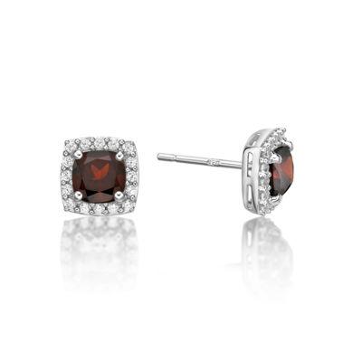 Cushion Red Garnet Sterling Silver Stud Earrings