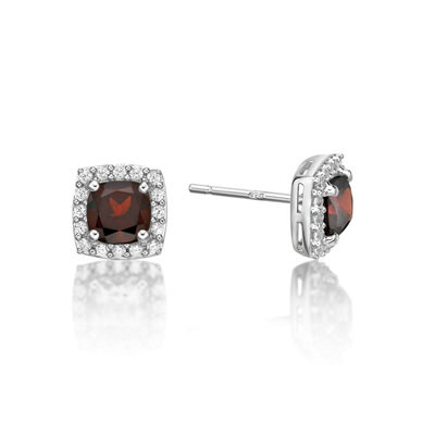 Genuine Red Garnet Sterling Silver Stud Earrings