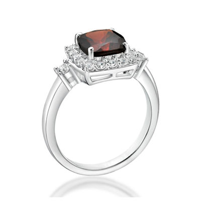 Genuine Garnet & Lab-Created White Sapphire Sterling Silver Cocktail Ring