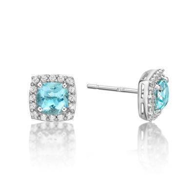 Simulated Aquamarine Sterling Silver Stud Earrings