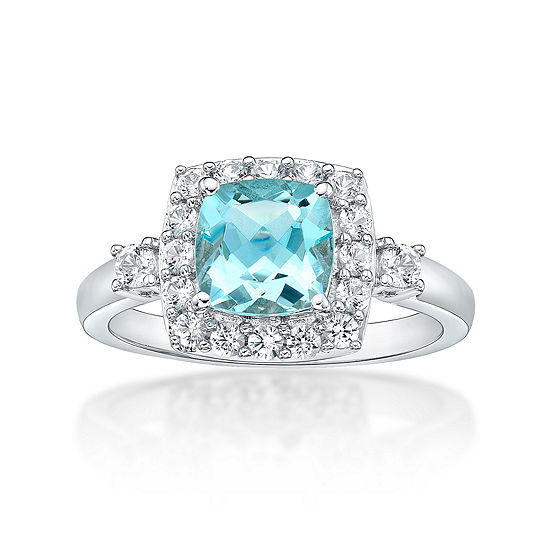 Womens Simulated Aquamarine & Lab-Created White Sapphire Sterling Silver Cocktail Ring