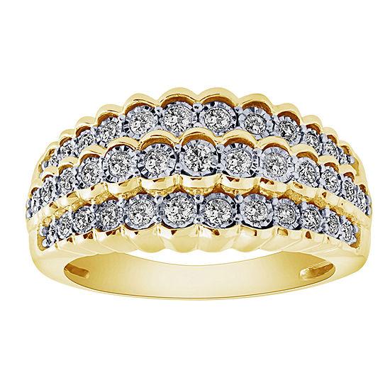 Womens 22.5MM 1/2 CT. T.W. Genuine White Diamond 10K Gold Band