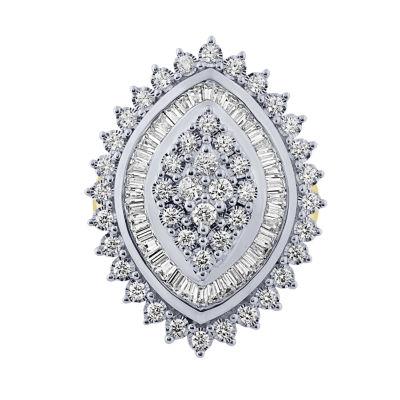 Womens 2 CT. T.W. White Diamond 10K Gold Cocktail Ring