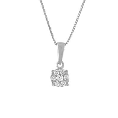 Diamond Blossom Womens 1/8 CT. T.W. Genuine White Diamond 10K White Gold Pendant Necklace