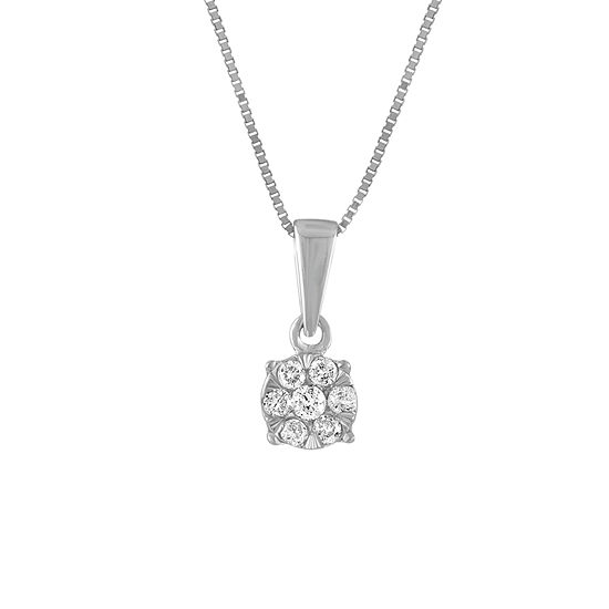 Diamond Blossom Womens 1/8 CT. T.W. Genuine White Diamond 10K White Gold Pendant Necklace