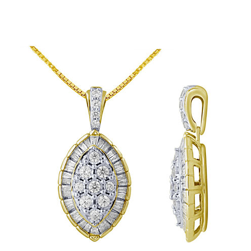 Womens 5/8 CT. T.W. White Diamond 10K Gold Pendant Necklace