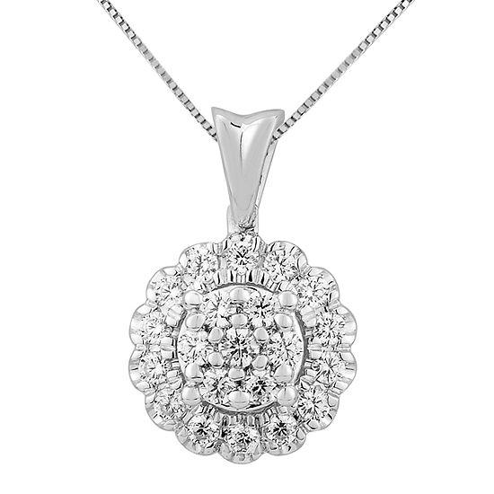 Diamond Blossom Womens 3/8 CT. T.W. Genuine White Diamond 14K White Gold Pendant Necklace