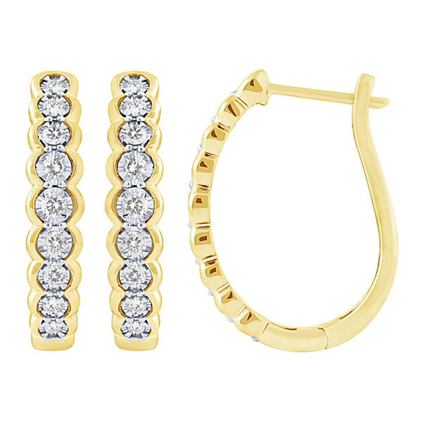 Fine Jewelry 1/2 CT. T.W. GENUINE White Diamond 10K GOLD Hoop Earrings tOvEID