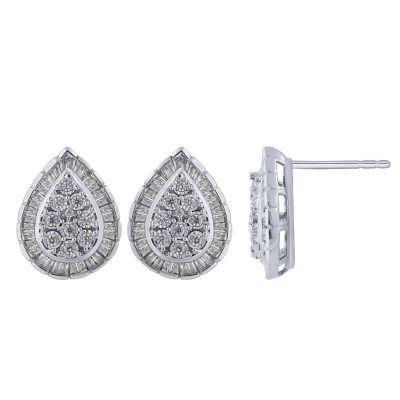 1/2 CT. T.W. Genuine White Diamond 10K Gold 15mm Stud Earrings