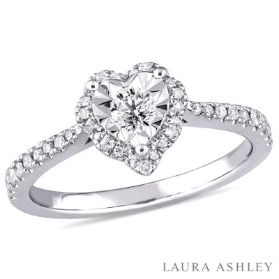 Laura Ashley Womens 1/3 CT. T.W. Round White Diamond Sterling Silver Engagement Ring