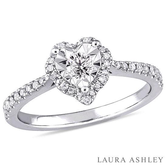 Laura Ashley Womens 1 3 Ct Tw Genuine White Diamond Sterling Silver Engagement Ring