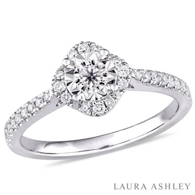 Laura Ashley Womens 3/8 CT. T.W. Genuine White Diamond Sterling Silver Engagement Ring