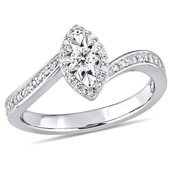 Womens 1/4 CT. T.W. Genuine Round White Diamond Sterling Silver Engagement Ring