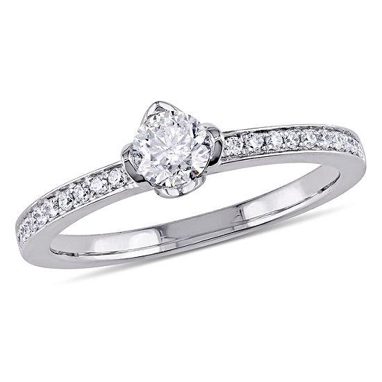 Womens 1 2 Ct Tw Genuine White Diamond 14k Gold Engagement Ring