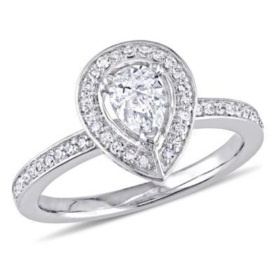Womens 5/8 CT. T.W. Genuine Pear White Diamond 14K Gold Engagement Ring