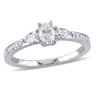 Womens 5/8 CT. T.W. Genuine Oval White Diamond 14K Gold Engagement Ring