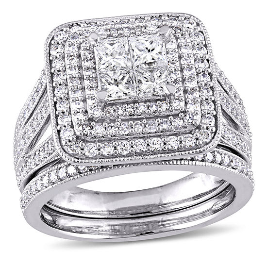 Womens 1 1/2 CT. T.W. Genuine White Diamond 14K Gold Bridal Set