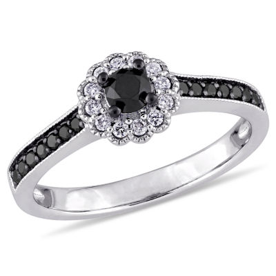Womens 1/2 CT. T.W. Color Enhanced Round Black Diamond 14K Gold Engagement Ring
