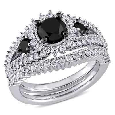 Womens 2 CT. T.W. Black Diamond 10K Gold Bridal Set