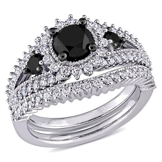Womens 2 CT. T.W. Genuine Black Diamond 10K Gold Bridal Set