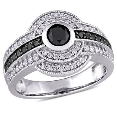 Womens 1 CT. T.W. Color Enhanced Round Black Diamond 14K Gold Engagement Ring