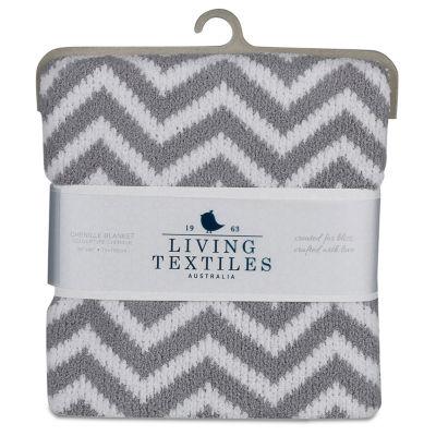 Living Textiles Chevron Chenille Baby Blanket - Grey