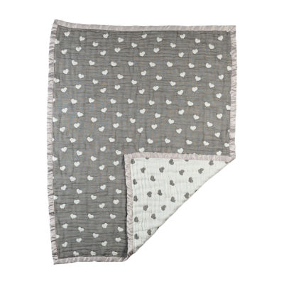 Living Textiles Cotton Muslin Jacquard Baby Blanket - Sketched Hearts
