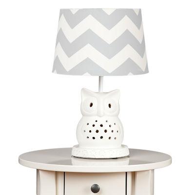 Lolli Living Owl Lamp Base w- Grey Zig Zag Shade