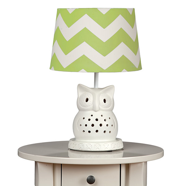 Lolli Living Owl Lamp Base with Green Zig Zag Shade