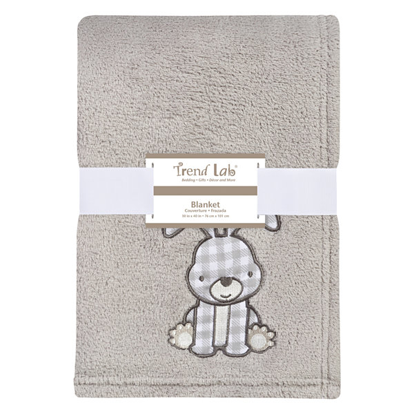 Trend Lab Gray Bunny Plush 1 Pair Receiving Blanket