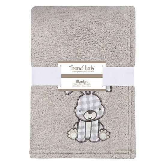 Trend Lab Gray Bunny Plush 1 Pair Receiving Blanket