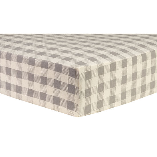 Trend Lab Gray Buffalo Check Flannel 1 Pair Animals + Insects Crib Sheet
