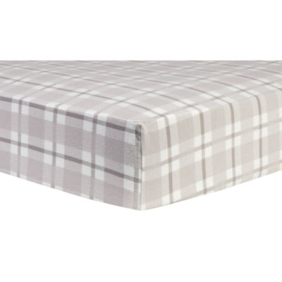 Trend Lab Gray And White Plaid Flannel 1 Pair Animals + Insects Crib Sheet